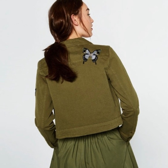 SM black cropped military-style jacket with butterfly birds /& flower appliqu\u00e9
